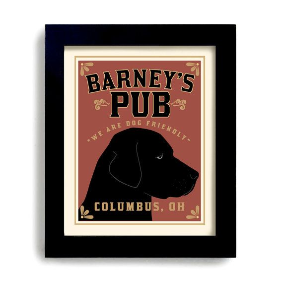 Custom Bar Labrador Art Retriever Black Dog Art Print by DexMex, $38.00