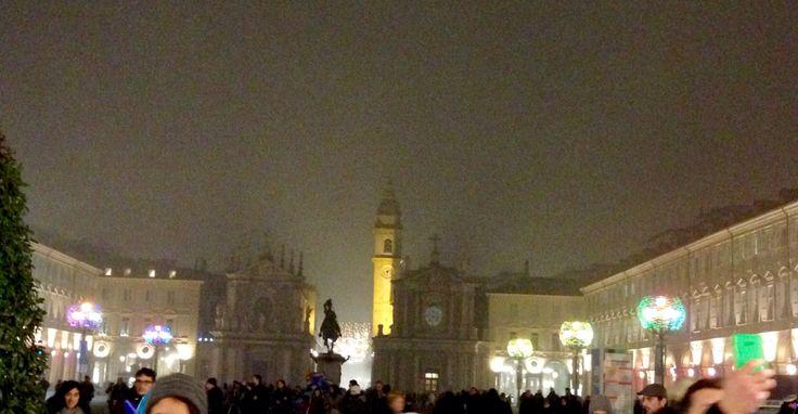 Piazza San Carlo nella nebbia