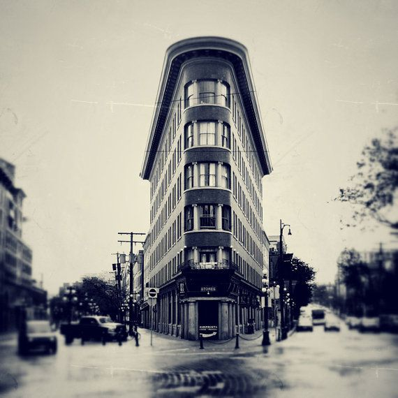 Instant digital photography download. Image of the Flatiron building in Gastown, Vancouver, BC. Edited to give a Vintage aesthetic. on Etsy, $7.50 CAD