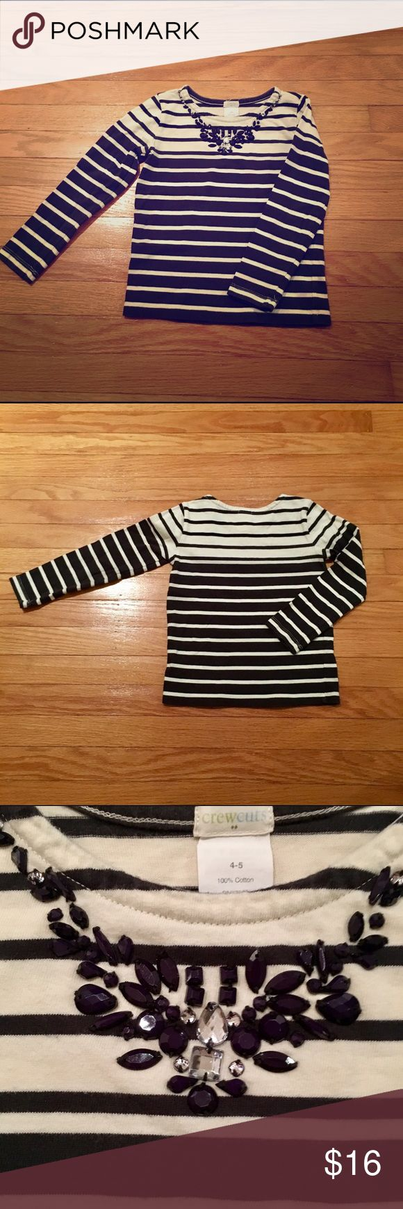 "Crew Cuts knit pull over w jewel neckline She will feel like such a little lady in this casual yet ""fancy"" navy/off white striped pullover with jeweled neckline! (Top is 100% cotton but thicker then your average t-shirt). Great condition - worn twice J. Crew Shirts & Tops Tees - Long Sleeve"