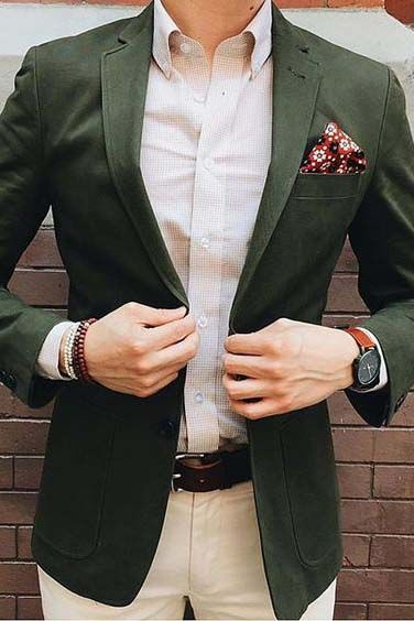Wear a light checkered shirt with a colorful pocket square to brighten up a dark blazer for your spring wardrobe.