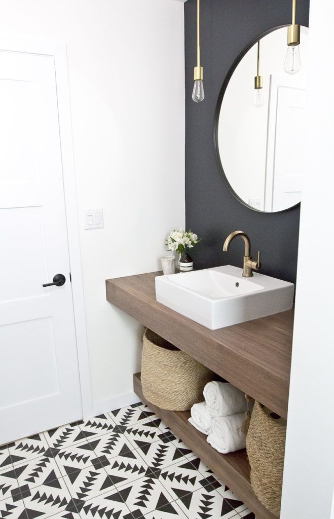 Modernes eklektisches Bad … ich liebe den Fliesenboden