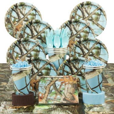 Light Blue Camo Party Deluxe Tableware Kit Serves 8 Baby