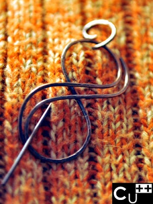 """""""Wave"""": handmade copper shawl pin by aes Cyprium"""