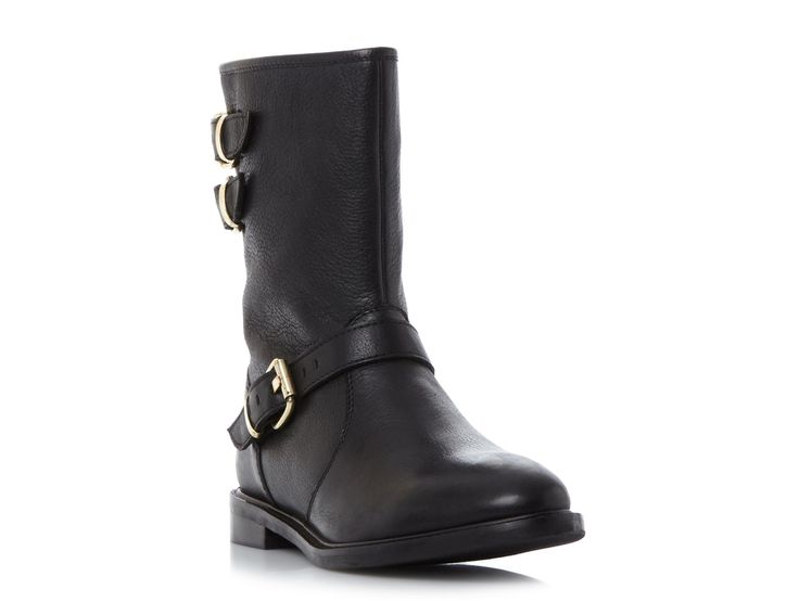 Rowen, a biker boot style cut to the calf, will fast become your staple. It features multiple buckle trims, a decorative back zip and an almond toe. An inside zip fastening and stitch detailing completes this everyday style.