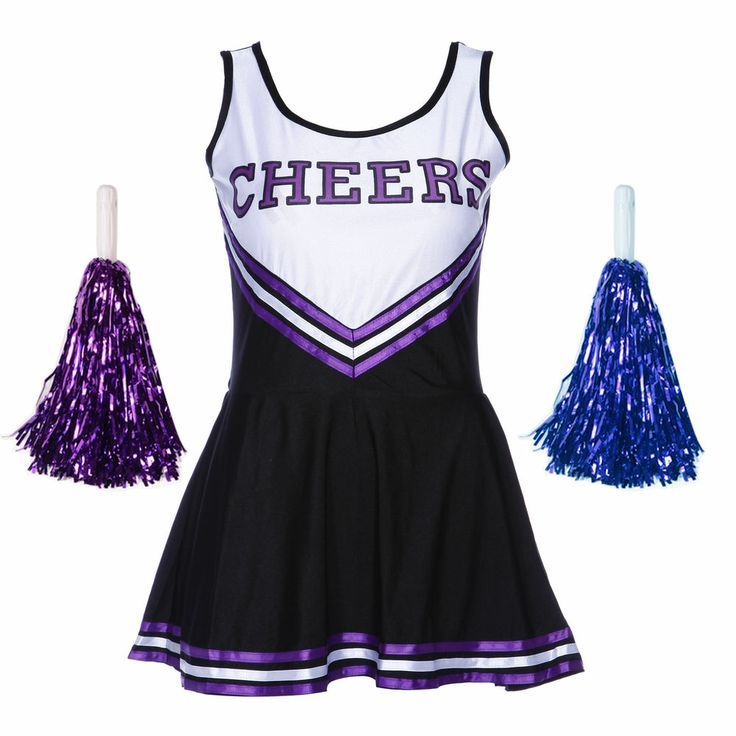 Varsity Cheer School Girl Cheerleader Fancy Dress Up Uniform Pom Poms L us 10 12