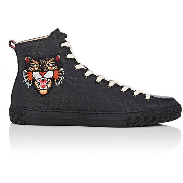 Gucci Men's Major Leather Sneakers ($695) ❤ liked on Polyvore featuring men's fashion, men's shoes, men's sneakers, black, mens shoes, mens sneakers, mens leather sneakers, mens hi top shoes and mens black high top sneakers