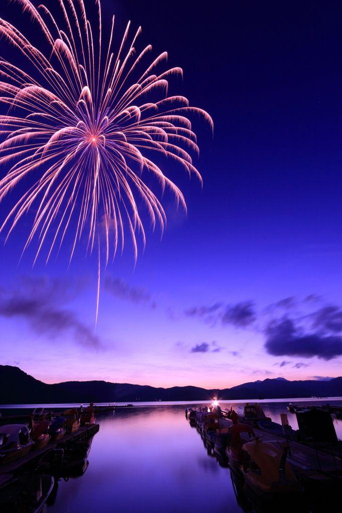 Fireworks over Lake Hibara-ko, Fukushima, Japan