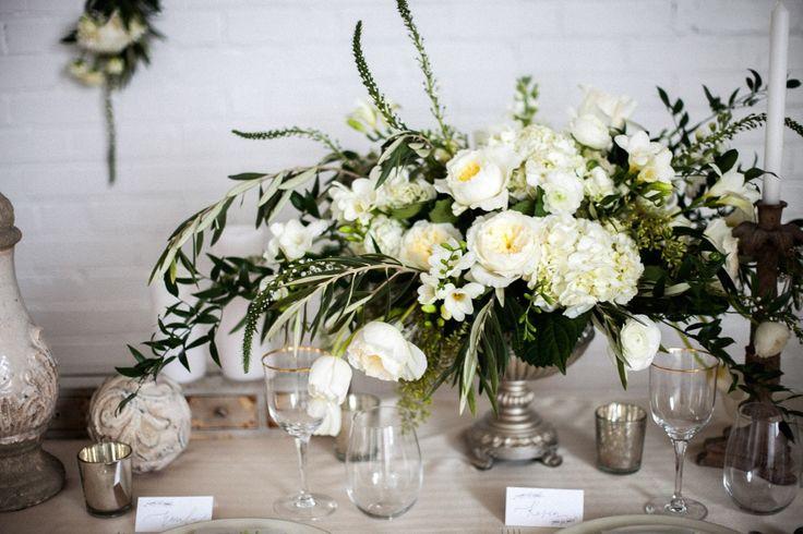 romantic green white garden rose ranunculus wedding centerpiece silver urn wedding centerpiece wedding flowers utah calie rose mary claire photography