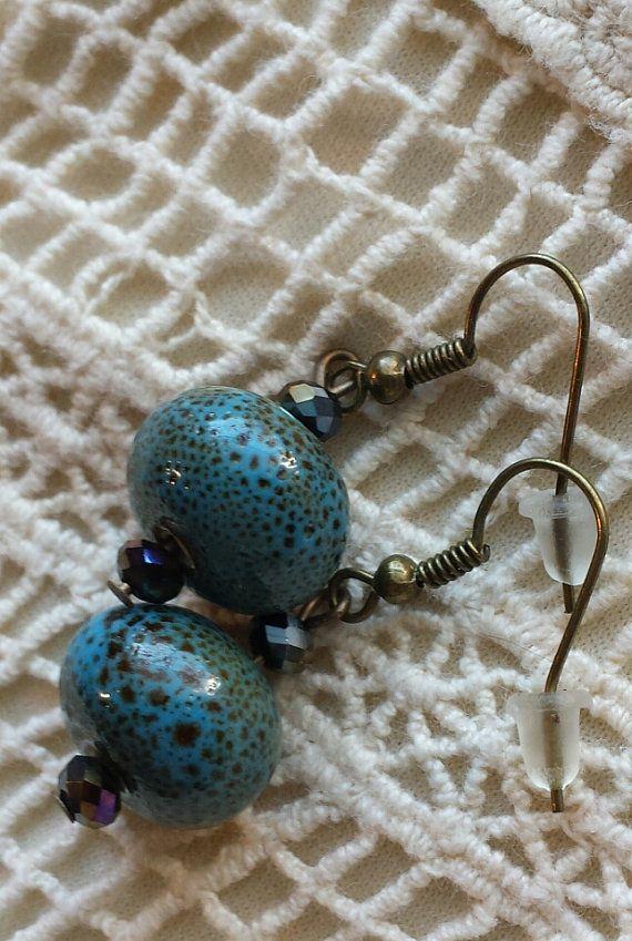 Porcelain Beaded Earrings by GypsyJunkStudio on Etsy