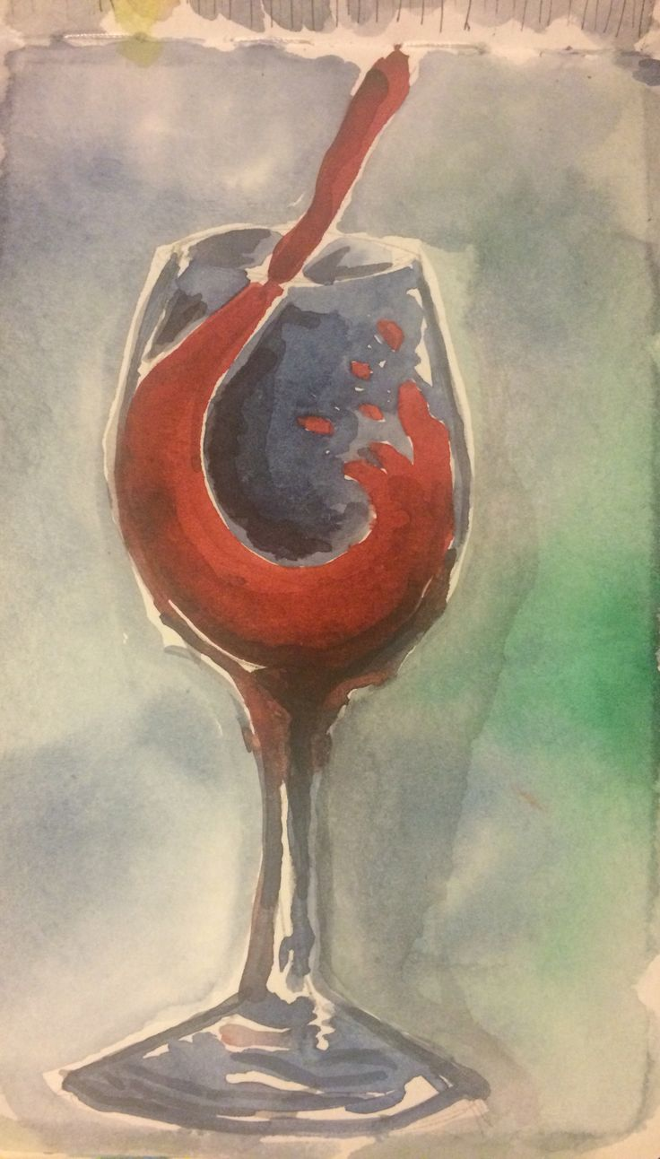 Glass of wine - watercolor
