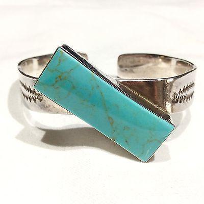 Винтаж Taxco Mexico бирюза коренастый серебро 925 пробы манжеты браслет