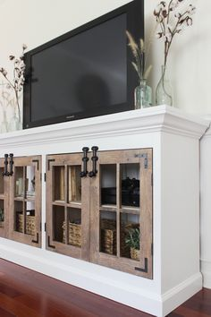 Ana White   Build a Farmhouse Media Cabinet Featuring Shades of Blue Interiors   Free and Easy DIY Project and Furniture Plans