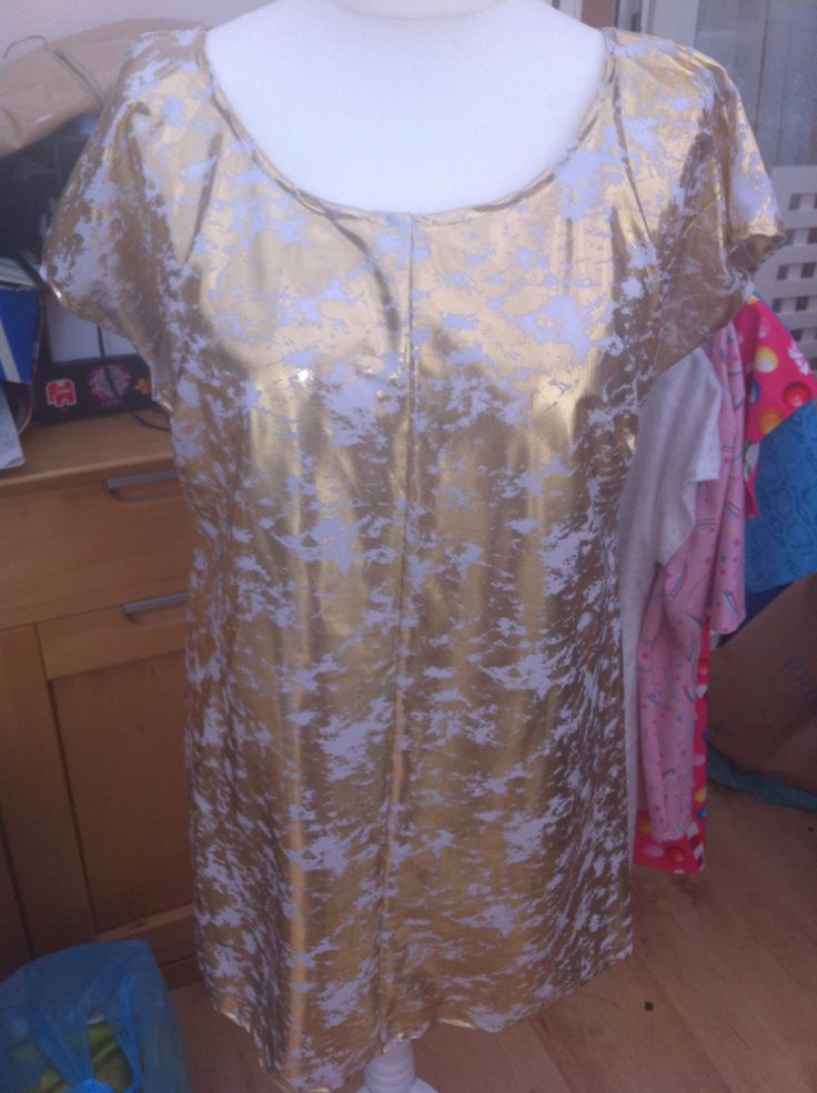 White and gold foil print dress