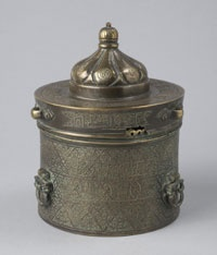 Inkwell  Made in Iran, Asia    12th century    Artist/maker unknown. Persian    Bronze with silver and copper inlay