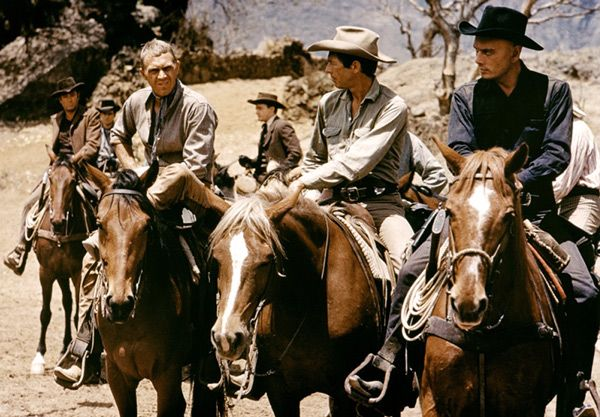 """The Magnificent Seven 1960. An oppressed Mexican peasant village assembles seven gunfighters, including their leader Chris Larabee Adams, to help defend their homes from a gang of ruthless bandits (""""The Magnificient Seven"""")."""
