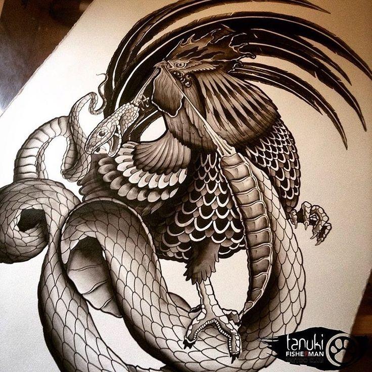 Dessin coq et serpent par tanuki fisherman