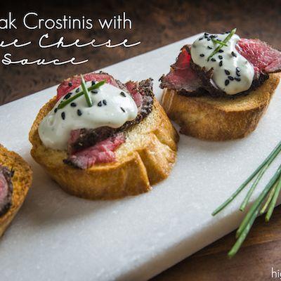 Steak Crostini with blue cheese sauce