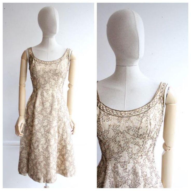 """""""Dorene"""" Vintage 1950's Gold Beaded Brocade Cocktail Dress UK 8"""