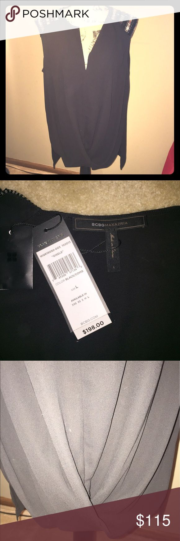 Stunning black Giselle BCBG top! NWT Elegant black top with gem details on the shoulders. Brand new with Tags! BCBGMaxAzria Tops Blouses