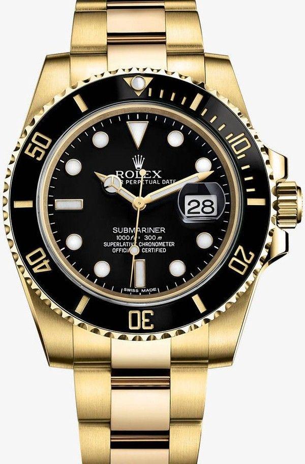 Gold watches : Gold watches men ROLEX SUBMARINER DATE