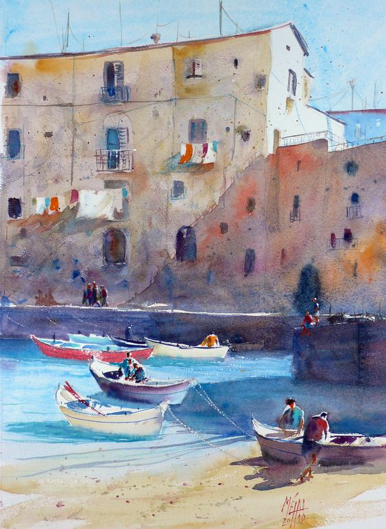 "(It's all about the color in the shadows.) Saatchi Online Artist: Andre MEHU; Watercolor, 2011, Painting ""The Harbor of Monopoli"""