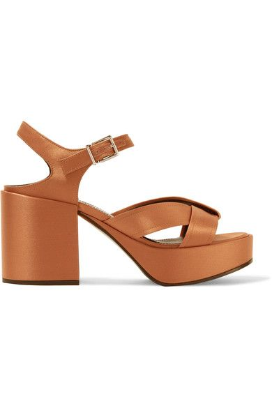 Heel measures approximately 50mm/ 2 inches with a 30mm/ 1 inch platform Bronze satin  Buckle-fastening ankle strap Made in Italy