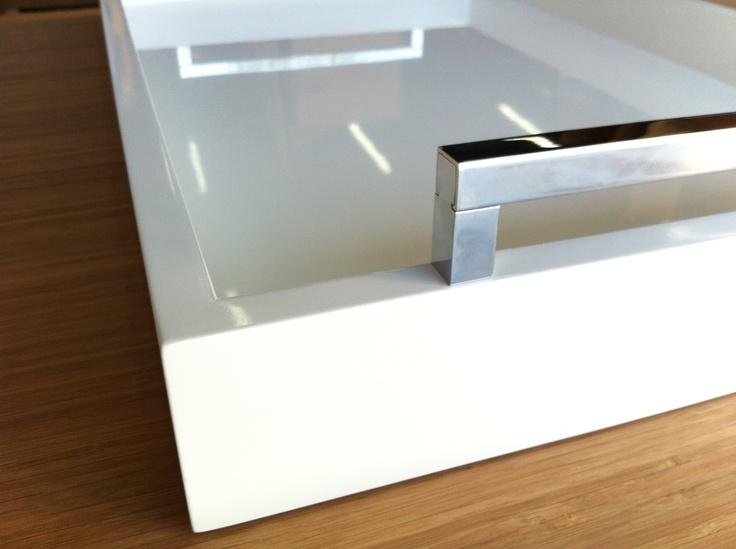 White Hi Gloss Tray  24x30x3 inches