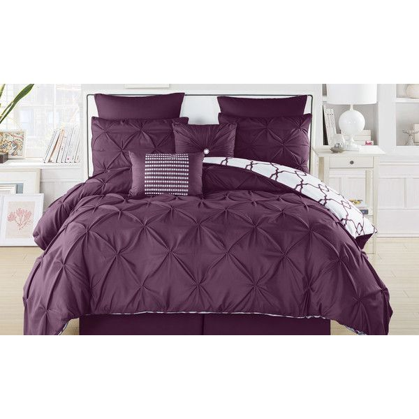 Esy Reversible Pintuck Printed Comforter Set ($80) ❤ liked on Polyvore featuring home, bed & bath, bedding, comforters, plum, queen comforter, oversized bedding, plum bedding, oversized queen comforter sets and oversized comforter sets