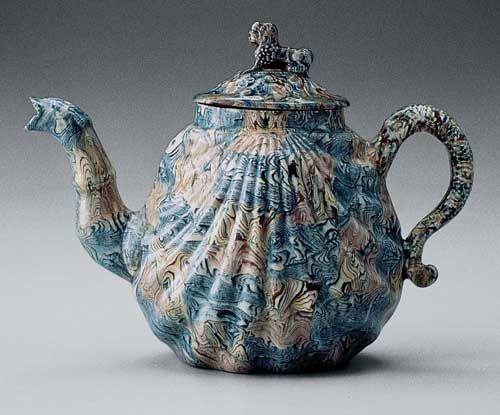 18th Century English Agateware Teapot