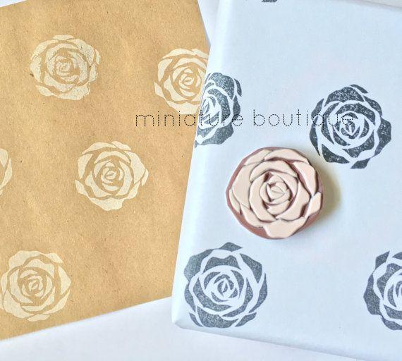 Rose Flower hand carved rubber stamp eraser by miniatureboutique