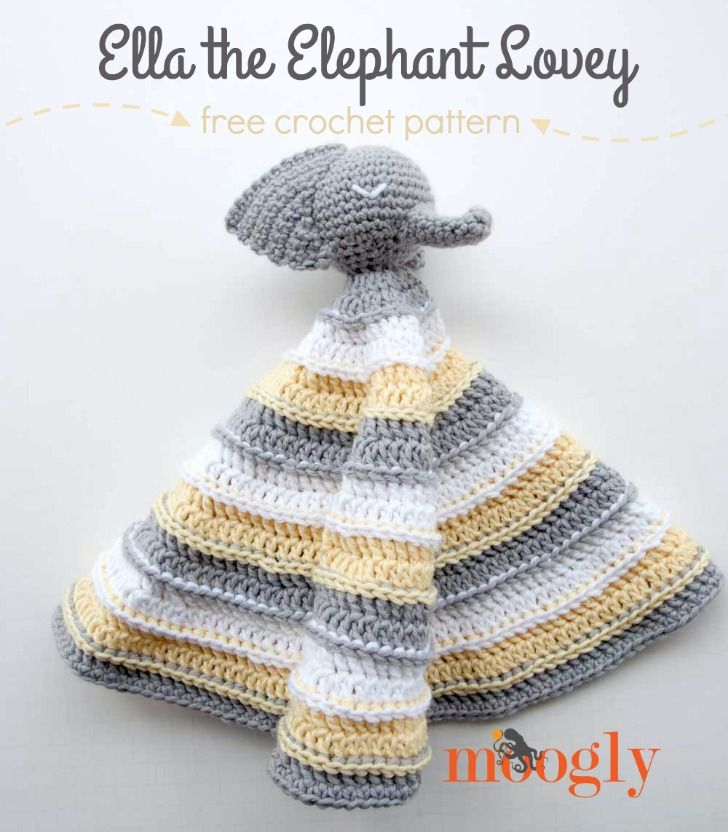 Ella the Elephant Lovey by Moogly. Make it with Martha Stewart Crafts Extra Soft Wool Blend yarn (pictured in gray pearl, bakery box white, and lemon chiffon) and a size I (5.5mm) crochet hook. Get the free crochet pattern on Mooglyblog.com!