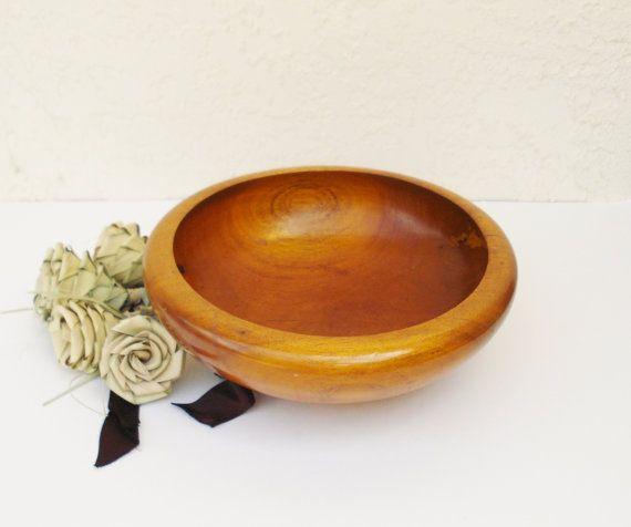 Vintage Walnut Bowl Turned Wood Bowl Wooden Fruit