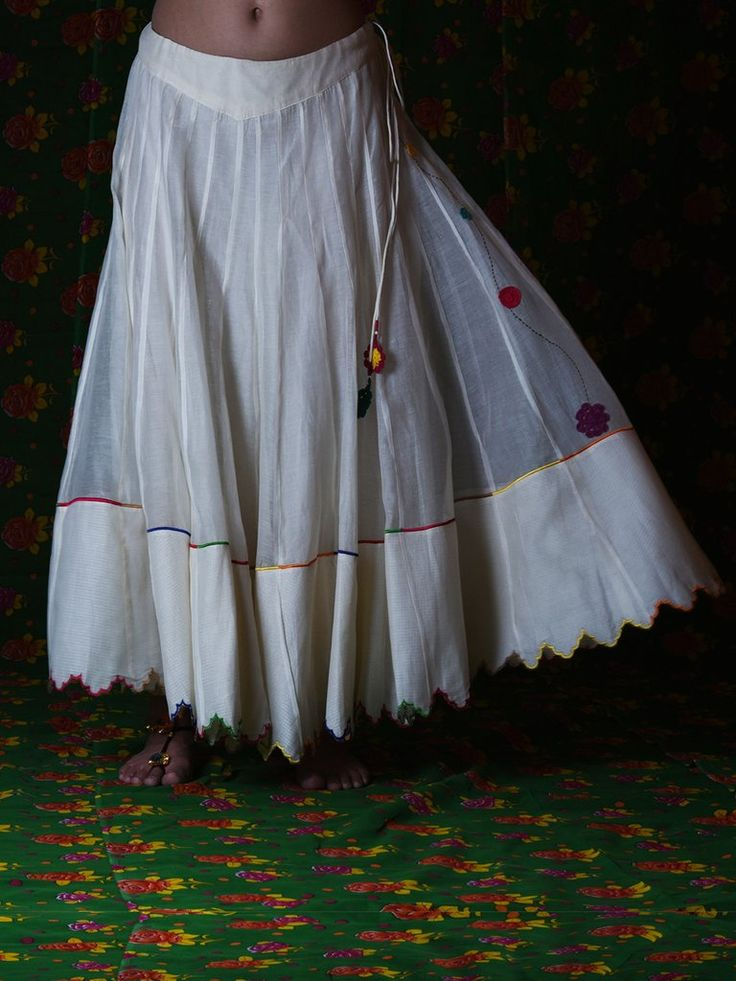 Off White Chanderi Cotton Skirt
