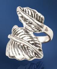 Ezüstszínű levél gyűrű (19 mm)