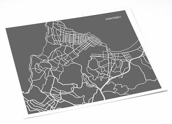 Monterey Map Artwork Wall Print / City Map Poster by jennasuemaps, $18.00