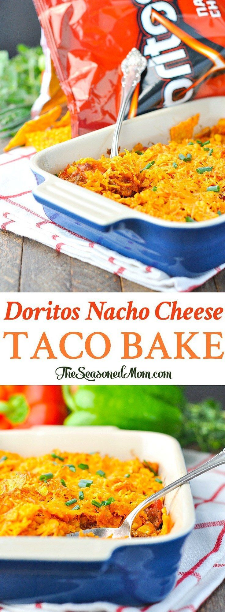 An easy twist on Mexican food for dinner, this Doritos Nacho Cheese Taco Bake is a fun casserole that will make your family smile! Lean ground taco meat and veggies are topped with shredded cheese and crumbled Doritos tortilla chips for a delicious, flavorful, and simple one dish meal!