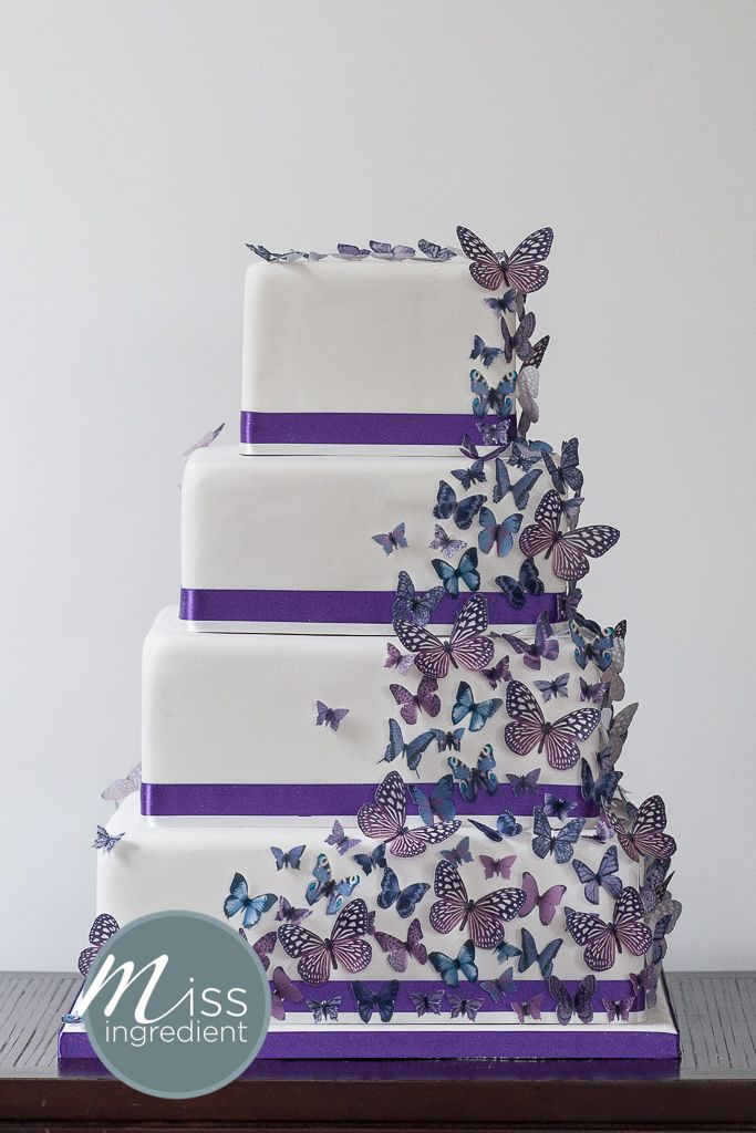 Wedding cake with purple butterflies by miss ingredient for Butterfly wedding