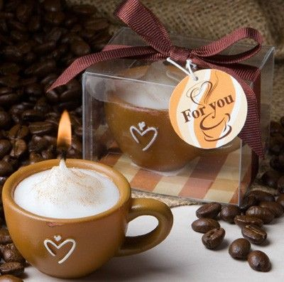 Mocha Latte Coffee Themed Candle Favor The Roche Party Favors