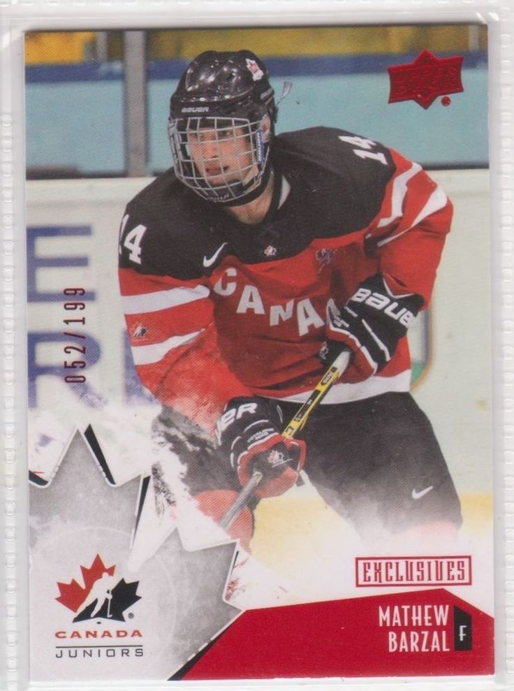 2015 UD TEAM CANADA JUNIORS #93/ MATHEW BARZAL/ EXCLUSIVES/ STAMPED 052/199