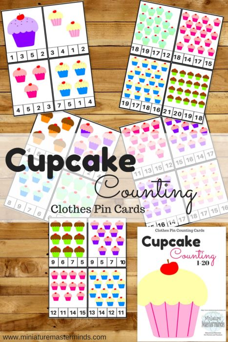 Cupcake Counting Clothes Pin Cards 1-20