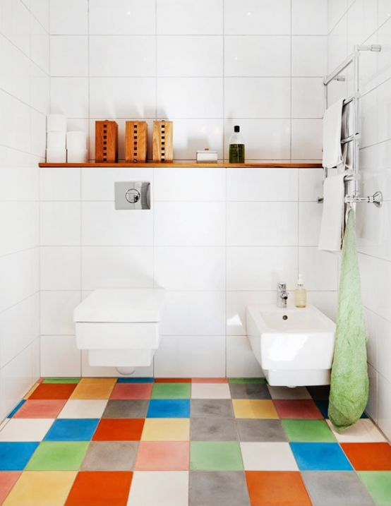 Clean White Tile Wall and Colorful Bathroom Paint Ideas Flooring with Floating Shelf