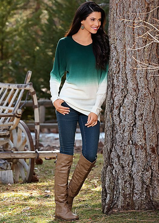 GREEN MULTI Ombre sweater, skinny denim, buckle knee high boot from VENUS