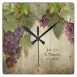 Elegant Rustic Vineyard Winery Fall Wedding Gift Square Wallclock  #Elegant #Fall #Gift #Rustic #RusticClock #Square #Vineyard #Wallclock #Wedding #Winery The Rustic Clock