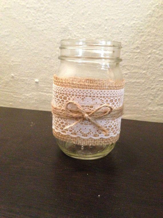 Burlap, Lace and Twine Pint Mason Jar Candle Holder or Vase. Rustic wedding decor.