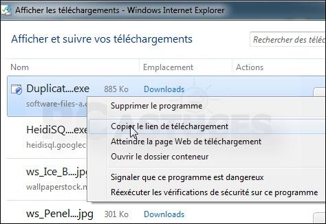 Récupérer l'URL de téléchargement d'un fichier - Internet Explorer