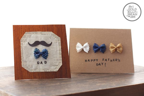 tarjeta del dia del padre decorada con pasta