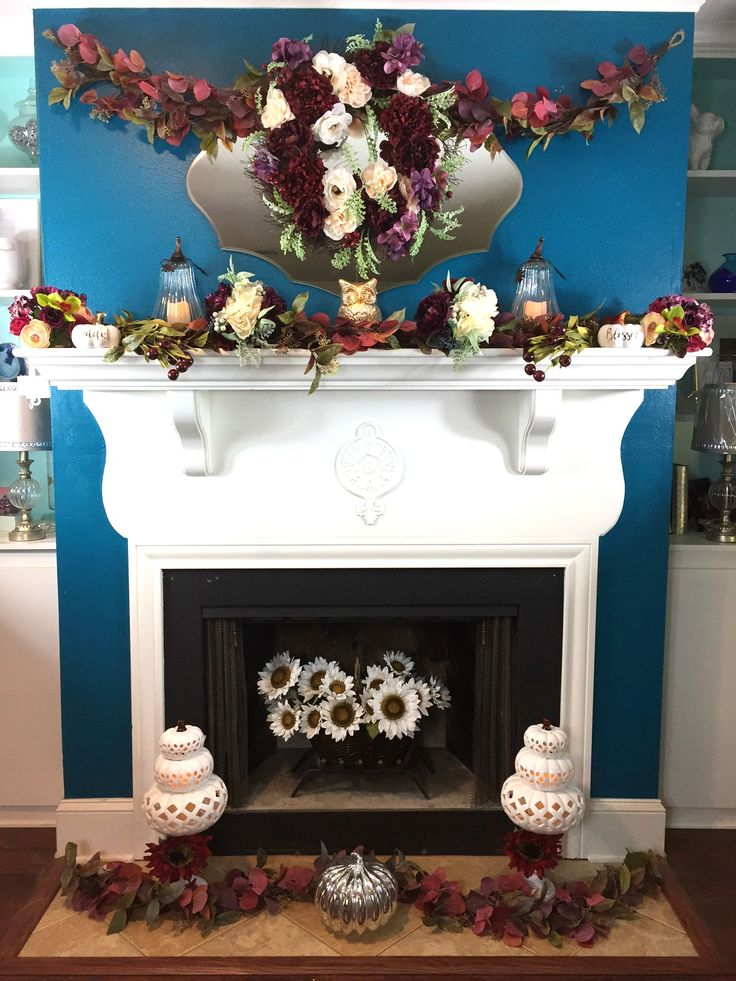 Lush Fall Foliage, White Glowing Pumpkins, Warm Flickering Candles, Winter white and deep red Florals accent this Fall Home Decor, Fall Blog Hop, Fall Home Tour.