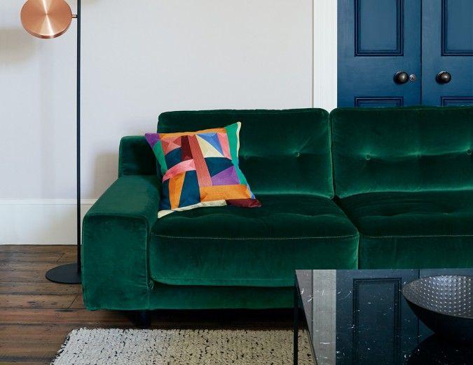 Hendricks Emerald Green Velvet 3 Seater Sofa Velvet Corner Sofa Sofa Best Leather Sofa