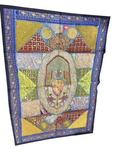 Indian Sari Tapestry Blue Embroidered Patchwork Wall Hanging Throw Mogul Interior http://www.amazon.com/dp/B00J8F64RQ/ref=cm_sw_r_pi_dp_ASVGwb0CNB2AY